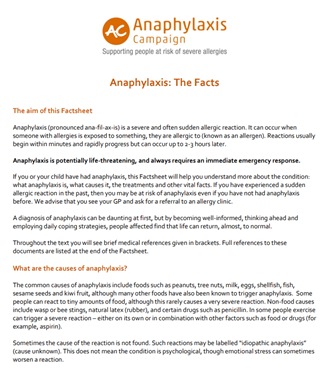 Anaphylaxis - the Facts