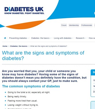 What are the signs and symptoms of Diabetes