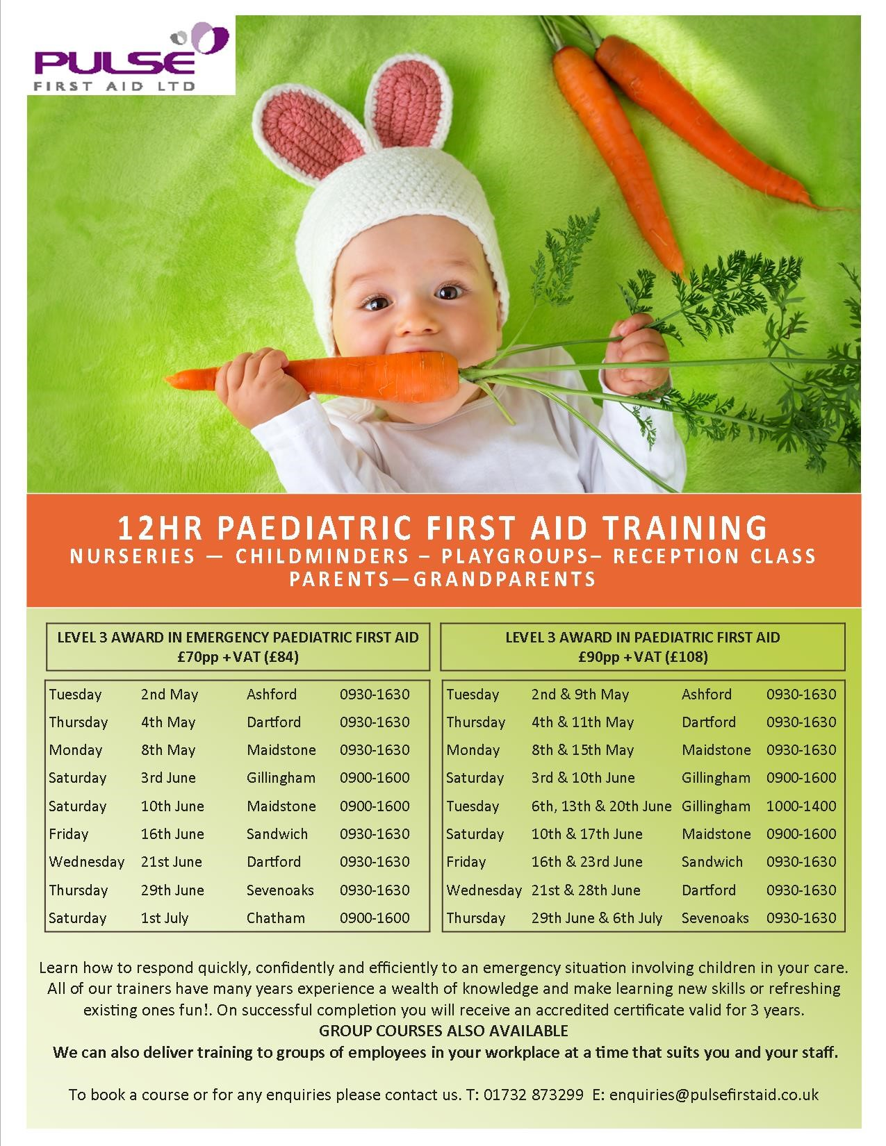 Paediatric First Aid Training Course Dates  - Spring 2017